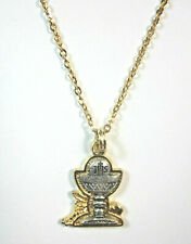 "Two-Tone Communion Chalice Charm Medal Pendant Necklace 20"" Gold Plated Chain"