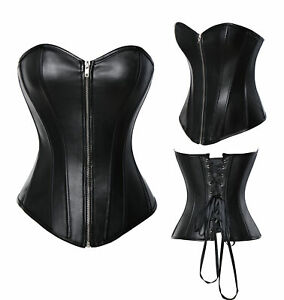Women Black Steampunk Corset Bustier Gothic Shapewear Plus-Size Lingerie Lace up