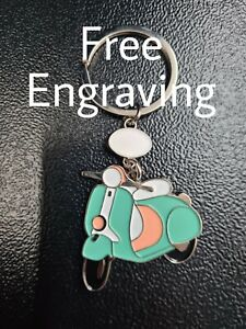 Scooter Vespa Keyring Metal Chrome | Engraved Message | Gift Bag Included |