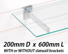 Slatwall 200 x 600mm Toughened Glass Shelf 6mm Wall Display Retail Home Shelving