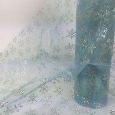 Per Metro NATALE ORGANZA Snow Tessuto Voile Blu & Argento Snowflake 29 cm di larghezza