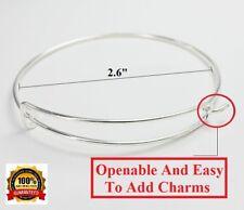 10 Pc Lot 925 Sterling Silver Adjustable Bracelets Bangle Opens To Add Charm 492