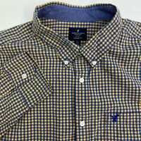 American Eagle Button Up Shirt Mens XXL Orange Blue Check Long Sleeve Casual