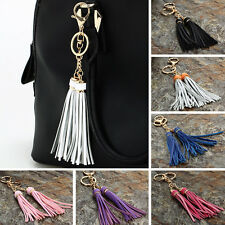 Leather Tassel Charm Key Chain Ring Women Bag Accessory Handbag Ornament BEST