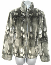 Stunning River Island Faux Fur Zip Up Evening Day Coat Jacket Size 12