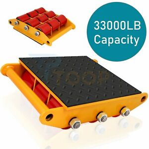 360° Rotation 15T Machinery Mover Dolly Skate Heavy Duty Cargo Machine 33000lbs