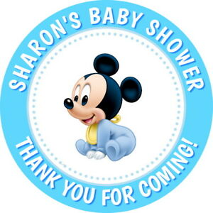 PERSONALISED MICKEY MOUSE GLOSSY,BABY SHOWER, THANK YOU STICKERS, SEALS LABELS