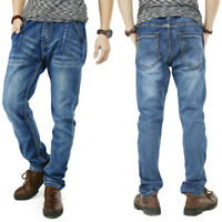 Mens Jeans Straight Leg Regular Fit Jogger Pants Elastic Waist with Drawstring