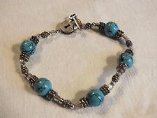 Beautiful Clasp Bracelet Silver Tone Turquoise Black B eads Lock/Key Toggle CUTE