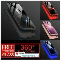 For Huawei Honor 10 Lite 360° Full Protective Hybrid Case + Tempered Glass Cover