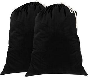 Laundry Bags Black, Cotton Heavy Large Sack Drawstring Storage Shopping Reusable