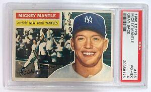 1956 Topps Mickey Mantle #135 PSA 4 Gray Back New York Yankees baseball card HOF