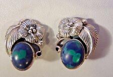 Blue - Green Stone Clip-On Earrings  6.2grams  .925 Sterling Silver