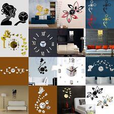 Modern DIY Large Wall Clock 3D Mirror Surface Sticker Home Office Hotel Decor BE