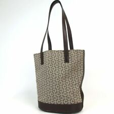 Authentic CELINE Macadam Tote Bag Canvas Leather Handbag MC00/2 C Made Italy