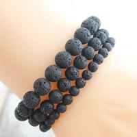 4/6/8MM Black Lava Rock Stone Yoga Mala Beaded Charm Wrist Men Women Bracelets