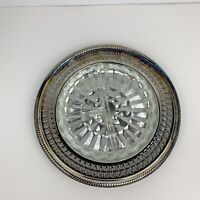VTG International Silver Company Round Silver Serving Tray Platter With Glass