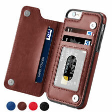 Leather Flip Wallet Card Holder Case Cover For iPhone X 6 7 8 Plus Samsung S8 S9