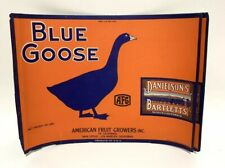 Blue Goose Crate Label 1940s Vintage Fruit Pears California AFG Print Litho PAIR