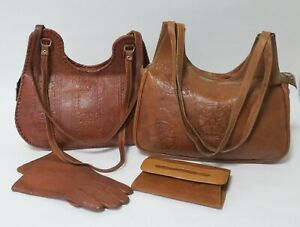 Set of 2 Vintage 1970s Leather Handbags With Gloves & Purse | For Repair or DIY