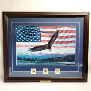 America the Beautiful, Stamps Display Flag Framed Art Print Higgins Bond Vintage