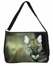 Stunning Big Cat Cougar Large Black Laptop Shoulder Bag School/College, AT-17SB