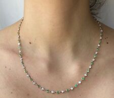 Platinum and 18K Yellow Gold Emerald and Diamond by the Yard Necklace 18""