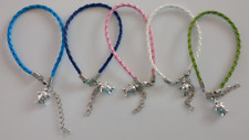 UK. Silver Turtle Friendship Bracelet. Turquoise Blue. Pink Green White