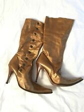 Vtg Spaziomoda Pointy Toe Metallic Copper Brass Button-down Mid-calf Boots