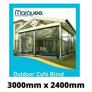 Marquee Heavy Duty PVC Outdoor Cafe Blind - 3000mm x 2400mm Clear SYD Stock