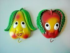 2 Vintage Chalkware Kitchen Wall Decor Apple Pear Faces Cute Expressions