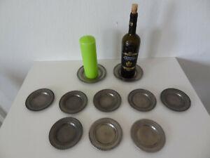 ZINN FINSTAIN LES POTSTAINIERS 8 Gläser-untersetzer+ für Flasche+ 1 Kerzenhalter
