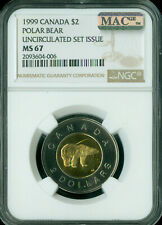 1999 CANADA $2 TOONIE NGC MS-67 PQ 2ND FINEST GRADE SPOTLESS POP-1 .