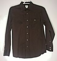 Lacoste Solid Brown Long Sleeve Shirt Men's Size 42 Button Up Cotton Blend
