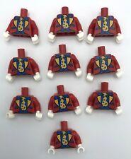Lego 10 Neuf Rouge Figurine Clown Costume Torsos Tacheté Cravate Blanc Mains