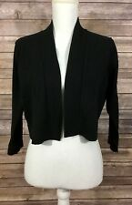 Calvin Klein Womens Open Front Cropped Bolero Knit Sweater Large Black Shrug 12