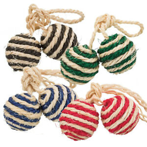 Trixie Sisal Cat Balls with Bell - Set of 4 two ball toys - Mixed Colours
