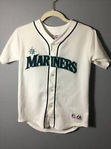 MLB Baseball white Jersey Youth Kids Majestic M Sewn Seattle Mariners 28 Ibanez