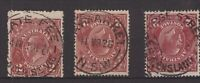 Australia postmarks on 3 x 2d red-brown KGV s/crown w/m (ACSC 97 CV $15 each)