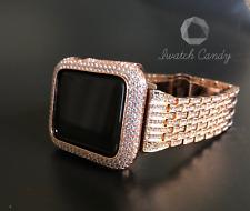 Apple Watch Band 42mm S1 Rose Gold Rhinestone & SS Case Cover Bezel Lab Diamond