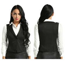 Damen Weste Anzug-Weste V-Ausschnitt Slim Fit Kellnerweste Workwear Waistcoat