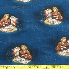 AWAY IN THE MANGER cotton fabric sewing quilting Nativity Scene 1yd, 21in.
