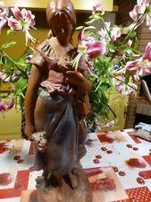66cm grande,belle  statue plàtre  demoiselle à la guitare