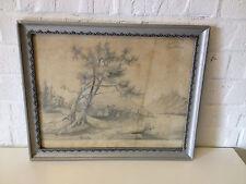 Antique JC Pearson Signed Pencil Drawing Landscape Henderson Groves IL