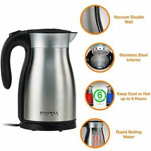 Stainless Steel Electric Kettle 1.7L Vacuum Insulated Water Boiler, 1500W