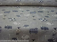 SMD SWATCHBOX BAA BAA SHEEP CHARCOAL 100% COTTON FABRIC FOR CURTAINS & CUSHIONS