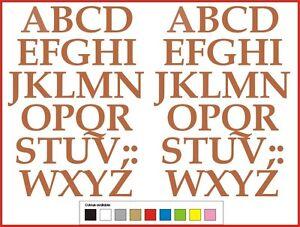 STICKY LETTERS 40mm high vinyl alphabet set A-Z Serif - any colour