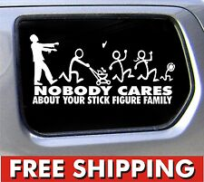 Zombie Stick Figure Family vinyl sticker Nobody Cares truck funny decal car
