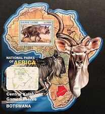 SIERRA LEONE WILD ANIMALS MAP SHAPED STAMPS 16 MNH NAT PARKS AFRICA HYENA
