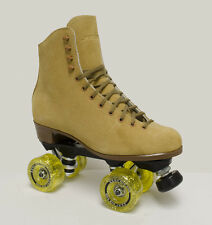 SURE GRIP VINTAGE TAN SUEDE INDOOR ROLLER SKATES - MEN'S SIZE 12 & MORE